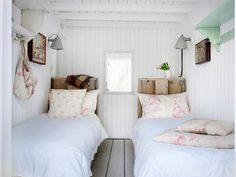 White + mint green + floral print + raw wood + maximize tiny space.