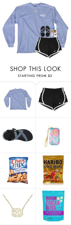 """""""Preppy errands contest"""" by breezerw ❤ liked on Polyvore featuring NIKE, Chaco and Lilly Pulitzer"""