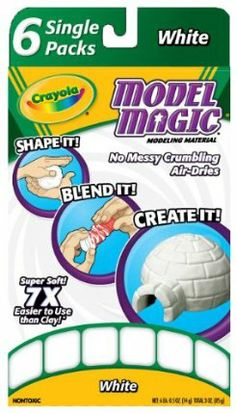 Crayola Model Magic Single Packs White (6 Single Packs) by Crayola. $7.99. Convenient package. Made in America. No mess fun. 6 packs let kids open just the amount they need. Allows kids to enjoy making fun finished art projects. Amazon.com                The easy-to-use Crayola Model Magic Single Packs feature soft and easy-to-use Model Magic Modeling Compound, which allows children to create, explore, and imagine. Model Magic is is soft and pliable and can be used over and ...
