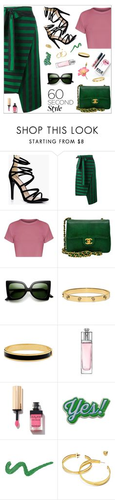 """Striped Skirt"" by nastenkakot on Polyvore featuring Boohoo, Rochas, Chanel, ZeroUV, Kylie Cosmetics, Tory Burch, Halcyon Days, Christian Dior, Yves Saint Laurent and Anya Hindmarch"