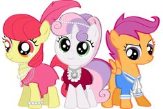 Cutie Mark Crusaders dressed all cutely All My Little Pony, My Little Pony Friendship, Mlp Cutie Marks, Pony Style, Sweetie Belle, Twilight Sparkle, Fluttershy, Rainbow Dash, Animation Series