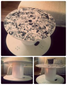 DIY customized wooden cable spool/coffee table by Tartatus.deviantart.com on @deviantART