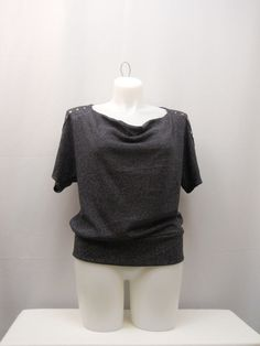 PLUS SIZE 1X Sweater NY COLLECTION Black Embellished Cowl Neck Dolman Sleeves #NYCollection #CowlNeck #Christmas