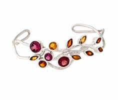 Multicolor Leaf Silver hand Cuff.  925 sterling silver #jewellery wholesale