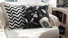 White Flowers 18 inch and Black Chevron 18 inch by hmishke on Etsy