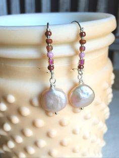 Pink Wire Drop Earrings Wire Wrapped Drop Earrings by LaniMakana $15.50