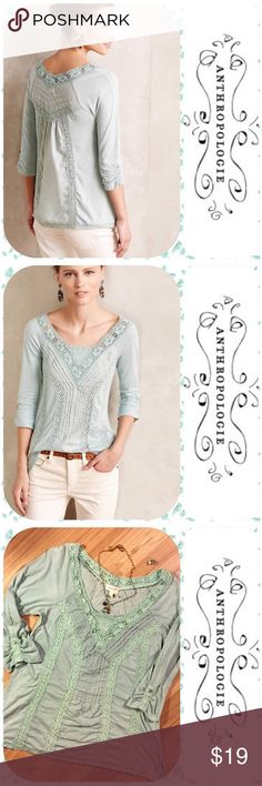 🌾 Anthropologie Meadow Rue Popover Top 🌾 Detailed lace, pintucking, and button up sleeves add flare to this cute top! It is in Very Good used condition; it is all cotton and has been washed. If you want it totally smooth you must iron it. I just lay it flat to dry! 🤗only the blouse is for sale) Says L but fits like a M! Note how the model is wearing this! 👍 Anthropologie Tops