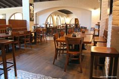 Located in a calmer street of the city center, Mestiansky pivovar is a pub of huge size, great cuisine and delicious tank beer. Combination of wooden furnit Bratislava, Dining Table, Furniture, Home Decor, Decoration Home, Room Decor, Dinner Table, Home Furnishings, Dining Room Table