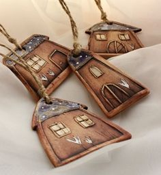 Genuine Porcelain China Made In Japan Ceramic Pendant, Ceramic Jewelry, Ceramic Beads, Clay Jewelry, Clay Houses, Ceramic Houses, Fimo Clay, Polymer Clay Art, Clay Projects