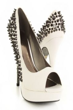 Um. They are on sale. Seriously. White Snake Skin Texture Faux Leather Pyramid Studded Peep Toe Heels