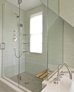 Glass tiled shower