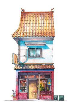 一组关于有着日本文化特色与风情的小房子手绘插画图片,来自日本插画师@Mark Powell 的水彩画作品,这在日式场景插画中很常见,一起喜欢吧。