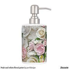Pink and white floral print bathroom set