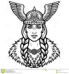 Portrait Of The Beautiful Young Woman Valkyrie In A Winged Helmet. Stock Vector - Illustration of ancient, helmet: 94283216 Viking Symbols, Viking Art, Valkyrie Tattoo, Helmet Drawing, Viking Queen, Freya, Helmet Tattoo, Obelix, Deer Illustration