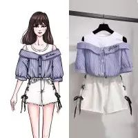 Product details of Korean Loose Off Shoulder Short Sleeve Embroidery Shirt + Jeans Shorts Womne's Summer Dress Suit Ferture: Soft,Comfortable Size (female): S-XXL Occasion: Casual High quality Plus size shorts shorts shorts shorts outfits shorts Fashion Drawing Dresses, Fashion Illustration Dresses, Cute Dresses, Cute Outfits, Womens Dress Suits, Teen Fashion Outfits, Style Fashion, Dress Sketches, Looks Chic