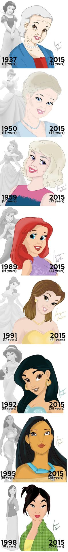 Disney Princesses - Then & Now by Brazilian artist Isaque Areas~they all aged really well Disney Pixar, Walt Disney, Disney Jokes, Funny Disney Memes, Disney Facts, Cute Disney, Disney And Dreamworks, Disney Cartoons, Disney Magic