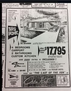 1962 prices of course! Scarborough Toronto, Toronto City, Holiday Travel, Marketing And Advertising, Travel Destinations, Canada, History, Drones, Hgtv