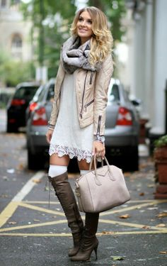 Perfect fall street style with lace dress, jacket and scarf