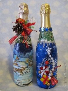 Декор предметов Декупаж: Новогодняя лихорадка)) Бутылки стеклянные Новый год. Фото 1