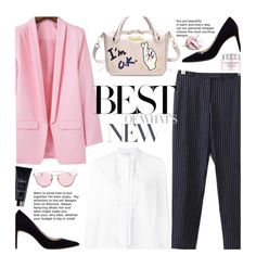 """Street Style: Pink Blazer"" by beebeely-look ❤ liked on Polyvore featuring Marie Marot, MANGO, Yves Saint Laurent, Lancôme, Stila, whiteshirt, sammydress, streetwear, StreetSyle and pinstripes"