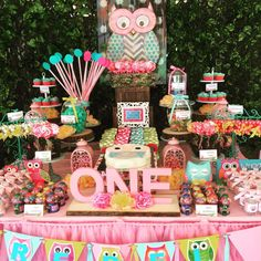 Amazing dessert table at a owl birthday party! See more party planning ideas at CatchMyParty.com!