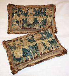 18th c. brown pair Aubusson pillows