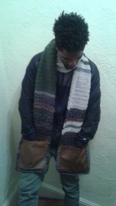 Handmade acrylic scarf with leather pockets. Exclusively at Sherrissimadesigns@gmail.com