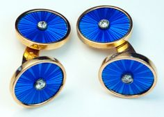 Antique Russian Cufflinks | St Petersburg, Russia | 1908-1917  | (14K) rose gold, and embellished with royal blue translucent guilloche enamel