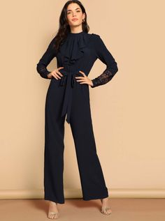 To find out about the Ruffle Trim Lace Cuff Palazzo Jumpsuit at SHEIN, part of our latest Jumpsuits ready to shop online today! Palazzo Jumpsuit, Jumpsuit Outfit, Jumpsuit Style, Lace Cuffs, Business Dresses, Work Attire, Ruffle Trim, Fashion News, Work Wear