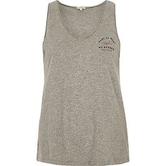 Grey marl 'east to west' print tank top