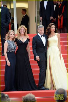 Julia Roberts in Armani Prive, Amal Clooney in Atelier Versace, Money Monster Premiere, Cannes Film Festival 2016