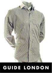 Smart sort og hvid stribet Guide London skjorte, med kontraster på både manchet og krave. Træt af kedelige skjorter? - Så prøv en fra Guide London!