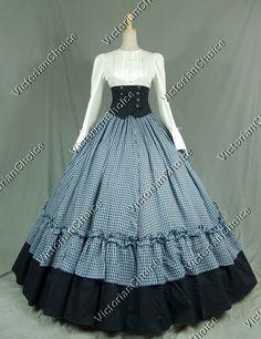 Civil War Victorian Viscose Cotton Ball Gown Dress Reenactment Clothing