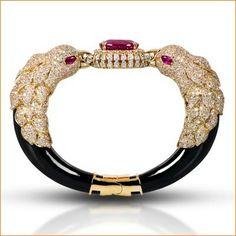 Farah Khan Eagle Bracelet  Eagle bracelet with ruby, black onyx and diamonds set in 18K yellow gold