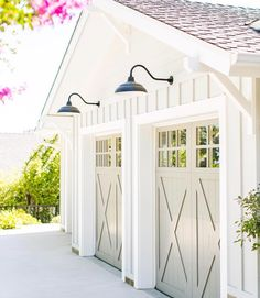 25 Gorgeous Garage Doors - These carriage house garage doors add a soft gray tone to a white garage. Notice the garage door wi - Carriage House Garage Doors, Garage Door Windows, Diy Garage Door, Garage Shed, Garage Door Design, Garage Ideas, Detached Garage, Garage Storage, Barn Garage