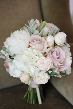 Pale Pink Bridal Bouquet | Patricia and Philip's Beautiful Olde Bell Wedding by Dasha Caffrey | www.onefabday.com | #Flowers #Wedding