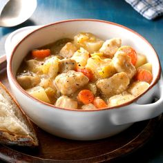 Skillet Chicken Stew Recipe -<B>Meet the Cook:</B> It's been 20 years now since I adapted this from a recipe for beef stew. We like it so much that, in all that time, I have never changed any ingredients or amounts - unless it was to double them! Turkey Recipes, Beef Recipes, Chicken Recipes, Soup Recipes, Cooking Recipes, Recipies, Chowder Recipes, Stew Chicken Recipe, Skillet Chicken