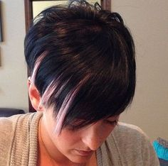 pixie with side bangs and highlights