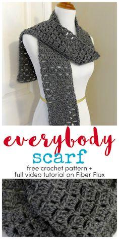 Free Crochet Pattern…Everybody Scarf! Everybody Scarf, free crochet pattern + full video tutorial on Fiber Flux Crochet Scarves, Crochet Shawl, Crochet Clothes, Easy Crochet, Crochet Stitches, Knit Crochet, Crochet Patterns, Crocheted Scarves Free Patterns, Free Crochet Scarf Patterns