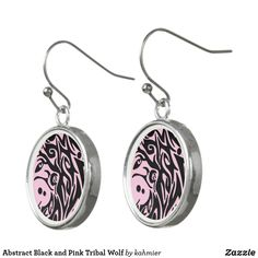 Abstract Black and Pink Tribal Wolf Earrings
