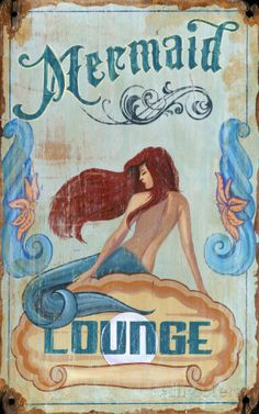 Retro Mermaid Lounge Retro Wall Decor - Welcome your beach house guests with this custom coastal beach wood sign with a very pretty mermaid with flowing brunette hair. Pretty Mermaids, Real Mermaids, Mermaids And Mermen, Fantasy Mermaids, Mermaid Fairy, Mermaid Tale, Mermaid Sign, Mermaid Poster, Mermaid Vector