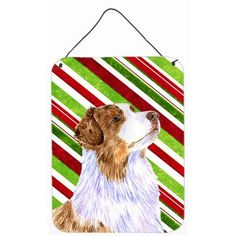 Caroline's Treasures Australian Shepherd Candy Cane Holiday Christmas by Lyn Cook Graphic Art Plaque