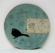 "Blue pears & the bird, 18"" platter by Diana Fayt"