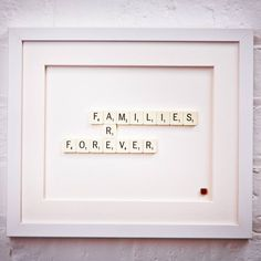 I've just found Families Are Forever Scrabble Art. A hand-made frame, bought to life by Scrabble letters. Each stunning scrabble art is made right here in my studio in Northants.. £39.00                                                                                                                                                                                 More