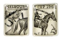 Melbourne Cup 1960 silver plate and re-purposed stamp cufflinks Southern Cross Tattoos, Shell House, Designer Cufflinks, Melbourne Cup, Australia Day, Kitsch, Tea Towels, Artisan, Stamp