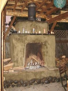 Earthen Structures Gallery. Cob Rumford Fireplace