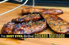The BEST EVER Grilled Chicken Marinade makes the most tender and juicy grilled chicken! The only marinade you will EVER need! A little sweet, a little tangy, absolute perfection! Chicken Marinade Recipes, Chicken Marinades, Grilling Recipes, Cooking Recipes, Healthy Recipes, Meat Marinade, Grilling Tips, Meat Recipes, Souvlaki Marinade