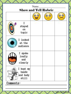 FREE Show and Tell Rubric - great for emphasizing/recording listening and speaking skills in PreK and the primary grades. #showandtell #kindergartenrubrics