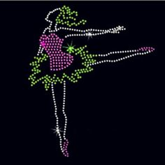 Dancing girl rhinestone transfer