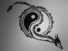 Yin and yang with dragon